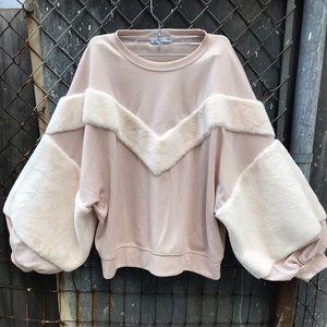 Zara super supple soft fur detailed sweat shirt